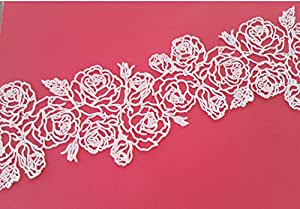 2 PC Vegan Pre-Made Edible Stencil Lace Beauty of Rose Design - Ready to Use Edible Lace