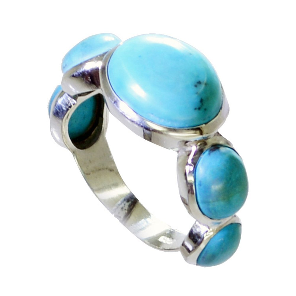 Gemsonclick Real Turquoise Ring in Silver Birstone Oval Shape Cluster Style Handamde Size 5,6,7,8,9,10,11