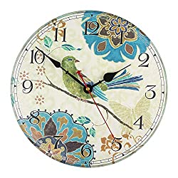 KI Store Silent Wall Clocks Non Ticking Decorative Clock for Bedroom Living Room Kitchen Wood Cabin Farmhouse Round Wall Decor (12, Bird)