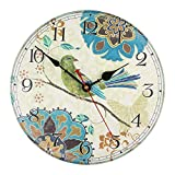 KI Store Silent Wall Clocks Non Ticking Decorative Clock for Bedroom Living Room Kitchen Wood Cabin Farmhouse Round Wall Decor (12', Bird)