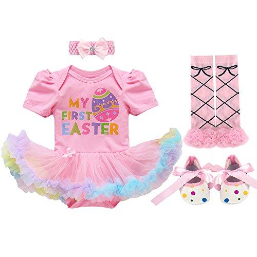 FYMNSI Baby Girls My 1st/2nd Easter Costume Outfits Bunny Bodysuit Romper Tutu Dress Headband Shoes Leggings 12-18M