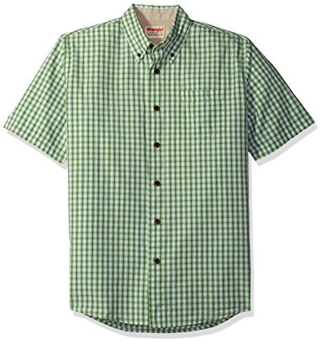 Shirt Woven Down Button Collar - Wrangler Authentics Men's Short Sleeve Plaid Woven Shirt, Forest Shade, XL