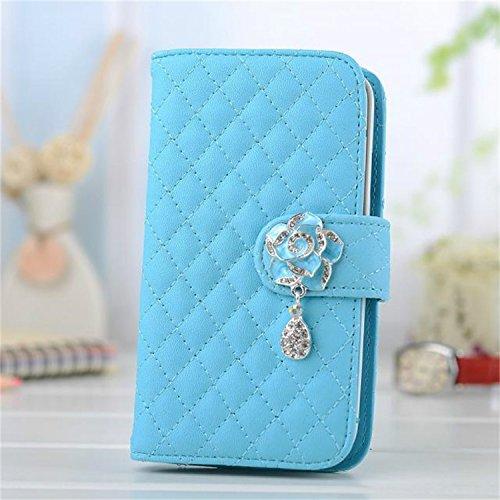 Borch Luxury Rhombus Design Camellia Pendant Purse Fashion Wallet Folio Leather Case Cover for Samsung Galaxy S3 I9300 (Sky blue)