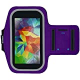 htc one phone accessories - Running & Exercise Armband for Samsung Galaxy S6 S5 S4 iPhone 6 / 6S (4.7), Google Pixel, HTC One & More with Key Holder & Reflective Band (Purple)