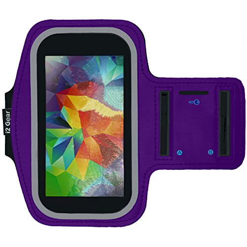 Running & Exercise Armband for Samsung Galaxy S6 S5 S4 iPhone 6 / 6S (4.7), HTC One & More with Key Holder & Reflective Band (Purple)