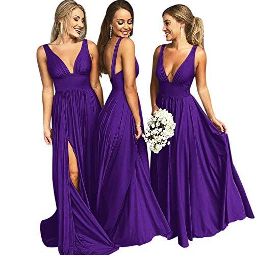 Bridesmaid Dresses Long V Neck Backless Split Beach Wedding Evening Prom Dress for Women Purple -