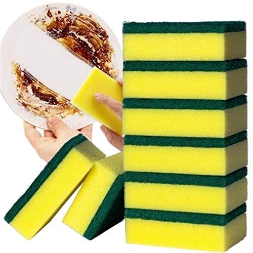 Bluefringe Double Layer Heavy Duty Scrub Sponge, Soft Strong Water Absorption Dishwashing Sponge for Home Kitchen