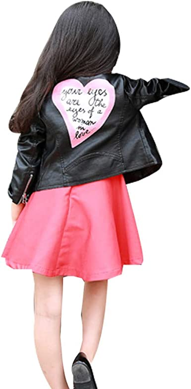 KONFA Teen Baby Girls Autumn Winter Outwear Clothes,Love Heart Leather Jacket Coat Set,for 1-5 Years Kids