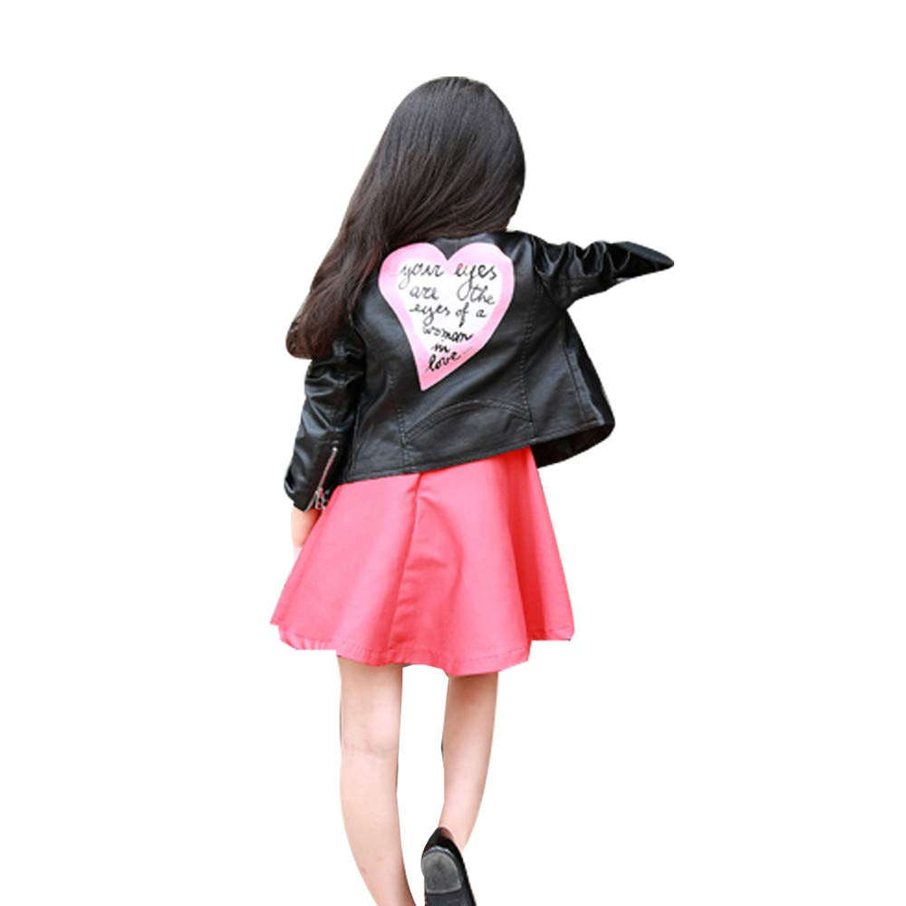 Willsa Baby Girls Jacket, Heart Letter Outwear Leather Coat Short Jacket Clothes