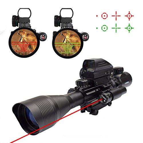 Twod 3 in 1 Riflescopes 4-12x50 Rifle Scope Dual Illuminated Reticle+Holographic 4 Reticle Reflex Sight+Gun Red Sight Laser Dot