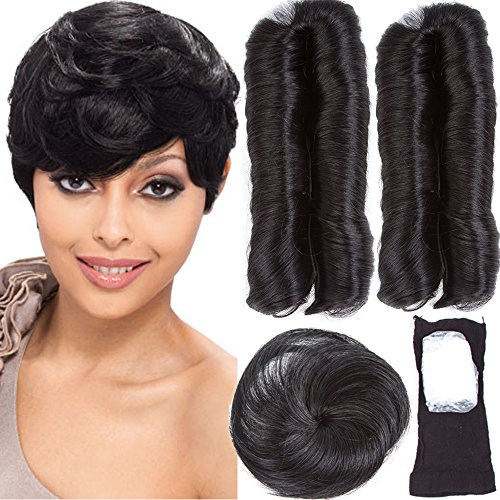 VRHOT 28 Piece Human Hair Weaves with Top Closure Brazilian Virgin Hair Weave Wavy Curly Short 27Pcs Hair with Closure Free Wig Cap Shower Cap 2'' 3'' 4'' 100g 1B (2'' 3'' 4'', #1B)