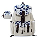Lt Tribe Girls Casual Canvas Backpack Floral College Backpack Laptop Daypack with Small Purse White G00137