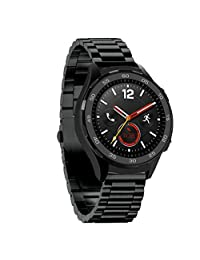 For Huawei Watch 2, Kingfansion Genuine Stainless Steel Bracelet Smart Watch Band Strap (Black)