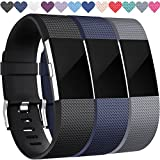 Wepro Fitbit Charge 2 Bands, Replacement Bands for Fitbit Charge 2 HR, Buckle, 3 Colors, Large