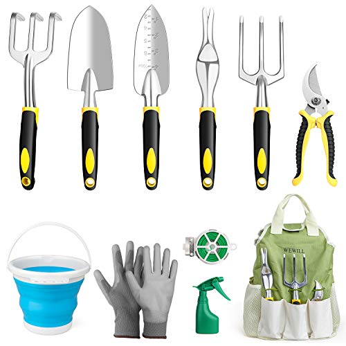 WEWILL Garden Tools Set Gardening Tool Kits Heavy Duty Aluminum Hand Tools Kits with Sprayer,Weeder,Garden Gloves…
