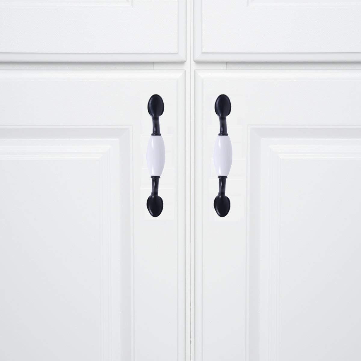 Leaf/&cici-10 Pieces Vintage White Black Wardrobe Door Handles Ceramic Zinc Alloy Cabinet Drawer Pulls 76mm//3Screw Spacing