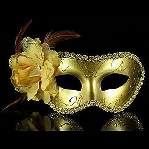 Ball Mask - Uk Venetian Feather Fancy Dress Masquerade Costume Carnival Party Ball Mask - Mascerade Couple Dress Masks Ball Gold Women Kids Stick Masquerade Mens Girls Party Fancy Couples ()