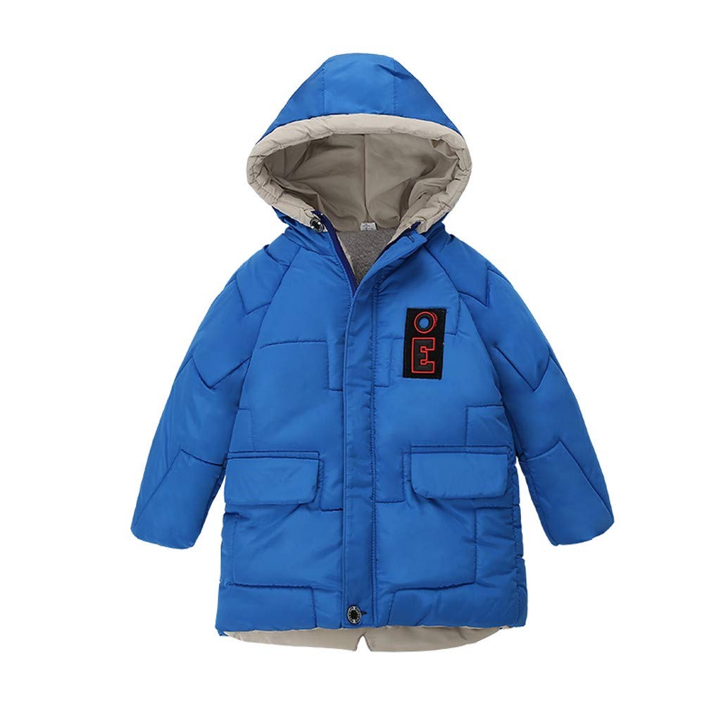 Gallity Toddler Boys Down Cotton Jacket Winter Hooded Jacket Thickened Warm Long Windproof Snowsuit Coat Parka Outerwear 12M-4Y (3-4 Years, Blue) by Gallity Baby Coat
