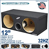 12 DUAL VENTED SUB BOX AERO PORT TUBE PORTED TUNED-32 Hz 3.20-Cu.Ft MDF SUBWOOFER ENCLOSURE