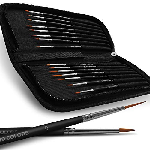 Professional Detail Paint Brush Set - 15 Easy Washable Paint Brushes - Fine Detailing for Acrylics, Oil, Watercolor & More - Matte Black Wooden Handles, Canvas Case and Premium Nylon Hair (15)