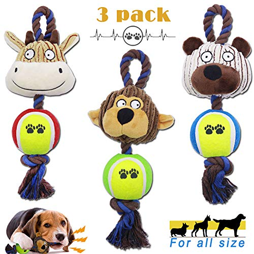 Dog Ball Toys, 3 Pack Interactive Squeaky Chew Rope Ball Toys, Durable Animal Sets Toys for Small Medium and Large Dog Puppy
