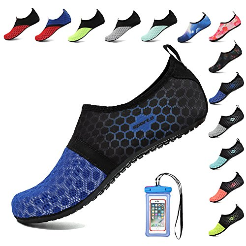HooyFeel Breathable Water Shoes for Women Men Quick Dry Aqua Beach Shoes Barefoot Skin Shoes with Phone Waterproof Bag Dark Blue