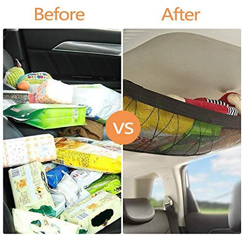 WETDCQ Car Ceiling Cargo Net Pocket - Car Roof Adjustable Interior Cargo Net Mesh Bag, Long Trip Storage Bag Sundries Storage Pouch