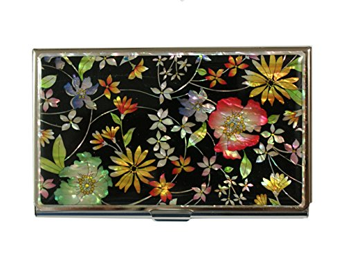 Mother of Pearl Flowers Design Metal Stainless Steel Business Card Credit Name Id Card Holder Case Organizer (Polishing Mother Of Pearl)