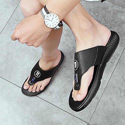In Grandi Sandali Moda Sandali 38 Uomo Pelle Scarpe Black Di Dimensioni Da Alla 5 Black Estivi Moda wgRP8T