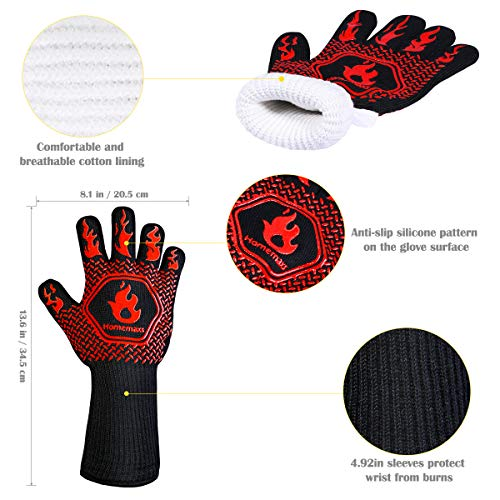Homemaxs BBQ Gloves 1472℉ Extreme Heat Resistant Grill Gloves, Food Grade Kitchen Oven Mitts, Silicone Non-Slip Cooking Gloves for Barbecue, Cooking, Baking, Welding, Cutting, 14 Inch (Style 1-Red)