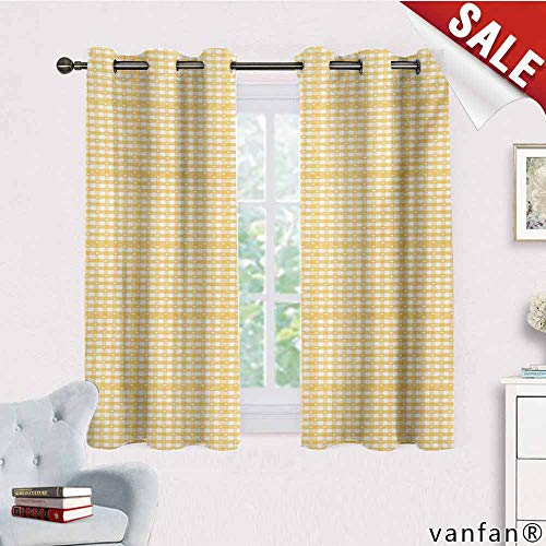Big datastore Kids Blackout Curtains Grommet,Vintage Yellow,Gingham Pattern with Bicolor Checkered Squares with Heart Motifs,for Nursery/Girls Roommustard and White,W63 Xl63