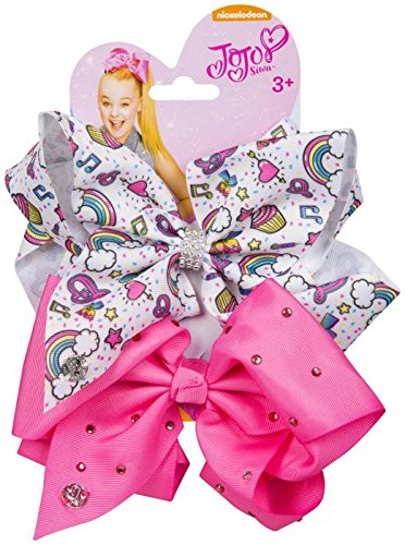 JoJo Bows Signature Collection 2 x Large Hair Bows - Limited Edition Bright Pink With Diamonte and White With Rainbows Hearts Cupcakes - Best Present for Your Little Girl JJS-070