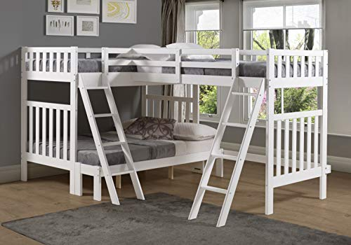 (Bolton Furniture Aurora Twin Over Full Bunk Bed with Tri-Bunk Extension, White)