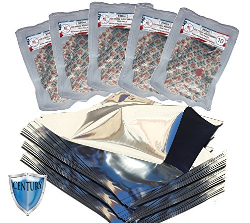 Quart Century Mylar bags with 300cc oxygen absorbers in 10-packs (50) with PackFreshUSA(TM) LTFS Guide