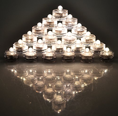 Samyo Submersible Tea Lights Waterproof Battery LED Underwater Sub Lights- Wedding Centerpieces Party Floral Decoration (Warm White , 24 Pack)
