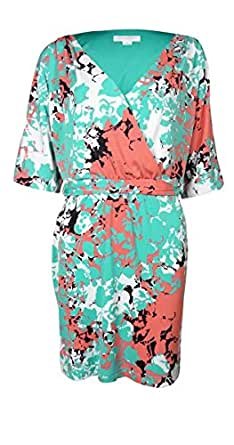 Jessica Simpson Women's Belted Dolman Wrap Dress (M, Capri Breeze)
