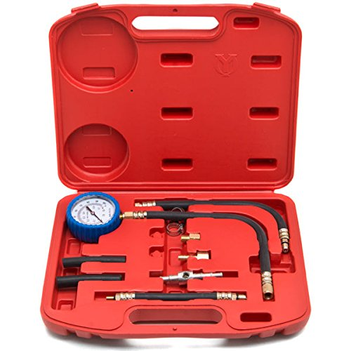 Biltek 0-100 PSI Fuel Injection Pump Injector Tester Test Pressure Gauge Gasoline Cars + KapscoMoto Keychain
