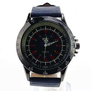 Amassan Mens Unique Fashion Design Quartz Analog Waterproof Wrist Business Casual Watch with Stainless Steel Case Comfortable PU Leather Band