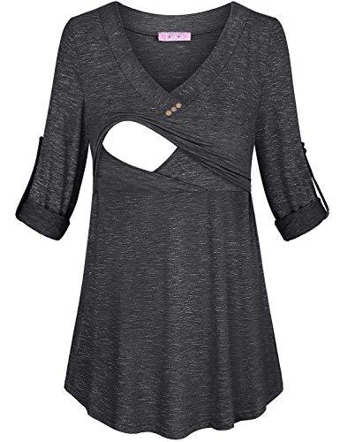 JOYMOM XL Nursing Tops,Pregnancy 3/4 Sleeve V Neck Solid Color Breastfeeding Shirts Maternity Plus Size Loose Wear Travel Clothes Chic Charming Tunics for Leggings Grey -