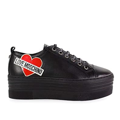 dda74720eb Image Unavailable. Image not available for. Color: Love Moschino Women's  Ja15056g16ib0000 Black Leather Sneakers