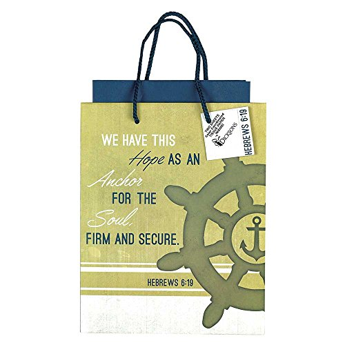Jesus Gift Bag (Hope Anchor for Soul Sand and Navy Medium Tissue Paper and Gift Bags with Handles 3 Pack)