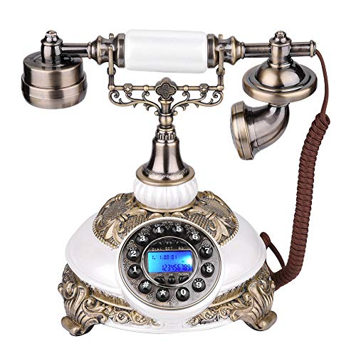 - Antique Telephone, Creative Digital Vintage Telephone Classic European Retro Landline Telephone Incoming Call Display & One-Button Redial Function (Pearl White)