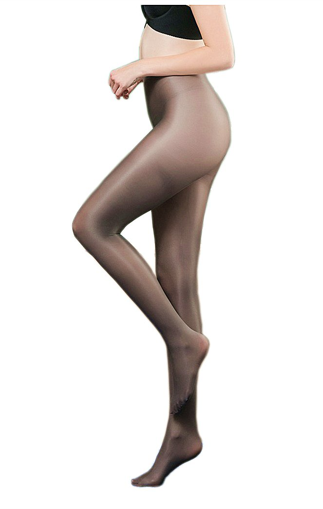 Kffyeye Women's Control Top Thickness Plus Size 70D Stockings Pantyhose, Ultra Shimmery Stretch Plus Footed Tights for Women (1pcs Grey)