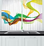 Ambesonne Abstract Decor Kitchen Curtains, Artistic Wavy Ribbon Line and Smoke Rainbow like Cool Graphic Artwork, Window Drapes 2 Panels Set for Kitchen Cafe, 55 W X 39 L Inches, Multi Colored Review