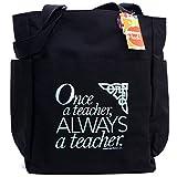 Teacher Peach'Once a Teacher Always a Teacher' Tote Bag with Pockets, Zippers, and Water Bottle Holder