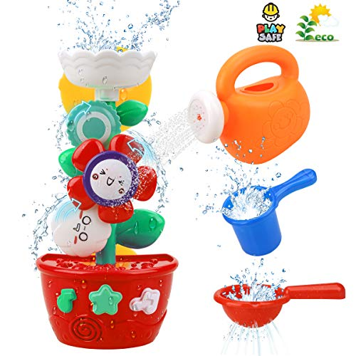 Bath Toys for Toddlers Babies Kids 1 2 3 Year Old Boys Girls Bathtub Toys Bath Wall Toy Fill Flow and Spin with 1 Mini Sprinkler 2 Toys Cups Strong Suction Cups Bath Toys Bath Toy