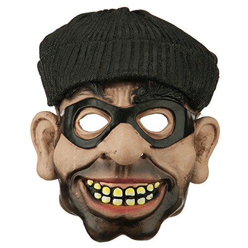 [PVC Robber Burglar Mask - Black OSFM] (Robber Adult Costumes)