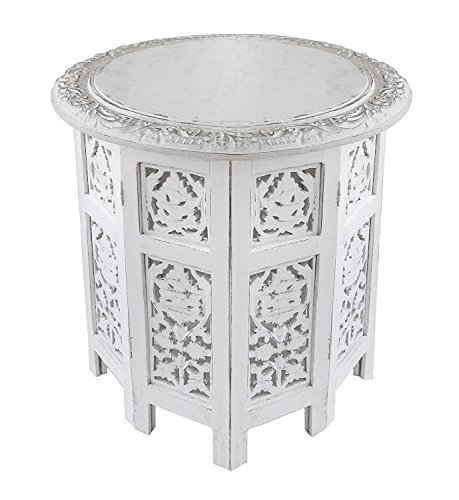 Artesia Wooden Handcrafted Carved Rajasthan Solid Folding White Accent Coffee (Antique White Corner Table)