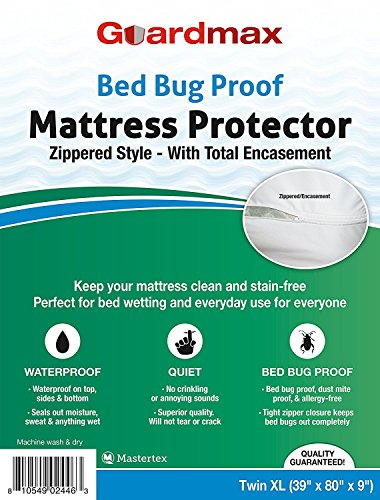 Guardmax Mattress Protector Twin Extra Long Size Zippered Encasement Bed Bug Control Waterproof Bed Cover, Hypoallergenic - Twin XL (39x80x9)