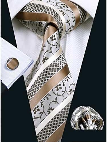 Hi-Tie 8 Designs Brown Woven Silk Necktie Tie Hanky Cufflinks set for Men